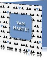Verjaardagskaarten - verjaardag driehoek blauw