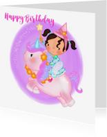 Verjaardagskaarten - Verjaardag feetje op een Unicorn