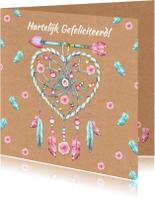 Verjaardagskaarten - Verjaardag hart bohemian hart veren