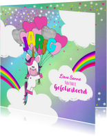 Verjaardagskaarten - Verjaardag hippe vrolijke felicitatie unicorn met  ballonnen