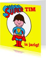 Verjaardagskaarten - verjaardag jongen stoer superman bruin