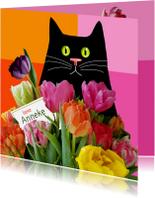 Verjaardagskaarten - Verjaardag - kat met kleurige tulpen