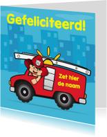 Verjaardagskaarten - verjaardag kinderfeest brandweer auto 3