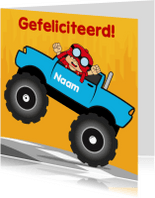 Verjaardagskaarten - verjaardag kinderfeest monstertruck 2
