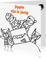 Verjaardagskaarten - verjaardag - kleurplaat superman