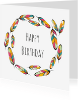 Verjaardagskaarten - Verjaardag kleurrijke veren - SV