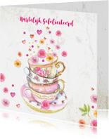 Verjaardagskaarten - Verjaardag kopjes bloemen