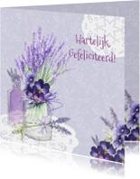 Verjaardagskaarten - Verjaardag lavendel vaasje