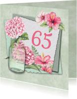 Verjaardagskaarten - Verjaardag leeftijd hortensia