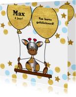 Verjaardagskaarten - Verjaardag lief girafje op schommel met ballon