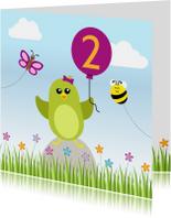 Verjaardagskaarten - Verjaardag meisje groen vogeltje met ballon - DD