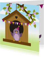 Verjaardagskaarten - Verjaardag meisje vogel - DD