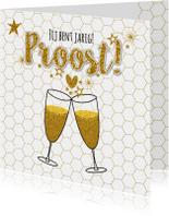 Verjaardagskaarten - Verjaardag moderne kaart champagne proost