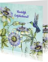 Verjaardagskaarten - Verjaardag passiebloem hummingbird