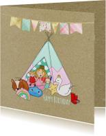 Verjaardagskaarten - Verjaardag Pientje Tipi tentje