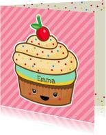 Verjaardagskaarten - Verjaardag retro cupcake roze