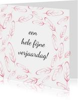 Verjaardagskaarten - Verjaardag roze veren - SV