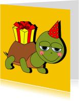 Verjaardagskaarten - Verjaardag schildpad met cadeau