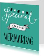 Verjaardagskaarten - Verjaardag speciaal handlettering turquoise - HR