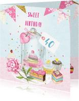 Verjaardagskaarten - Verjaardag stolp taartjes