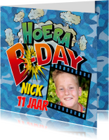Kinderfeestjes - Verjaardag Strip cartoon uitnodiging camouflage