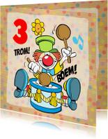 Verjaardagskaarten - Verjaardag Trommel Clown - A