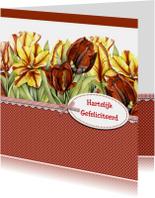 Verjaardagskaarten - verjaardag tulpen met label