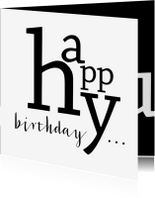 Verjaardagskaarten - Verjaardag typografisch happy