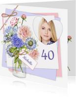Verjaardag vaas bloemen