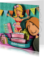 Verjaardagskaarten - Verjaardag - vrouw uit taart