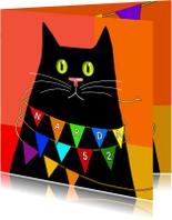 Verjaardagskaarten - Verjaardag - zwarte kat met slinger