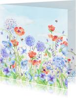 Verjaardagskaarten - Verjaardagkaart bloemenaquarel