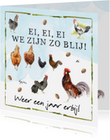 Verjaardagskaarten - Verjaardagkaart ei ei ei  met kippen en hanen