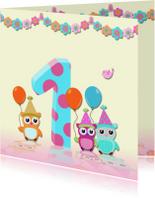 Verjaardagskaarten - Verjaardagkaart guirlande meisje