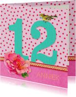 Verjaardagskaarten - Verjaardagskaart 12 roze