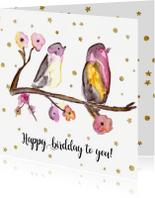 Verjaardagskaarten - Verjaardagskaart 2 vogels op een takje