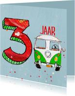 Verjaardagskaarten - Verjaardagskaart 3 jaar met bus