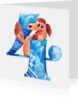 Verjaardagskaarten - Verjaardagskaart 4 jaar puppy jongen