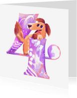 Verjaardagskaarten - Verjaardagskaart 4 jaar puppy meisje
