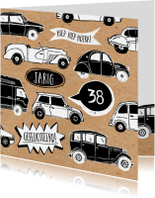 Verjaardagskaarten - Verjaardagskaart auto's met leeftijd