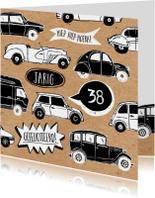 Verjaardagskaart auto's met leeftijd