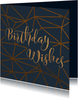 Verjaardagskaarten - Verjaardagskaart Birthday Wishes geometrisch patroon