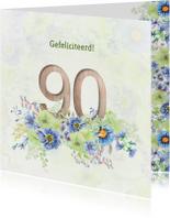 Verjaardagskaarten - Verjaardagskaart bloemen 90 jaar