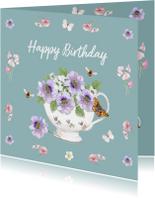 Verjaardagskaarten - Verjaardagskaart Bloemen in porseleinen kom.