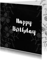 Verjaardagskaarten - Verjaardagskaart Bloemenrand