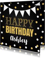 Verjaardagskaarten - Verjaardagskaart confetti goud slinger krijtbord