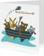 Verjaardagskaarten - Verjaardagskaart Dierenbos Boot