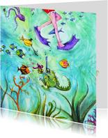 Verjaardagskaarten - Verjaardagskaart Een vrolijke verjaardag onder water!