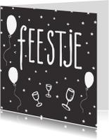 Verjaardagskaarten - Verjaardagskaart Feestje zwart-wit