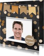 Verjaardagskaarten - Verjaardagskaart foto confetti en krijtbord